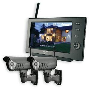ワイヤレス 防犯カメラ モニターセット ELPA CMS-7110 カメラ(CMS-C71)2台+モニター1台 / スマホ 対応 / 屋外 防水 無線カメラ / 配線不要 工事不要 / 監視セキュリティーカメラセット モニター付き