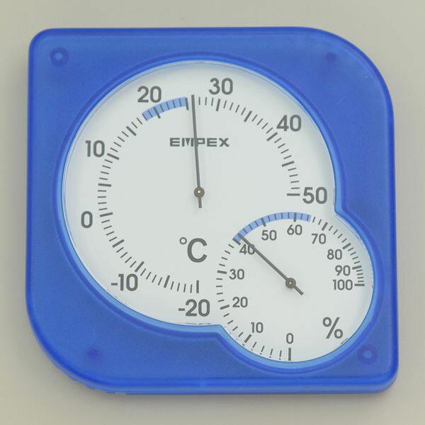 【メール便送料無料】ELPA 温湿度計 シュクレミディ クリアブルー OS-01 (BL)