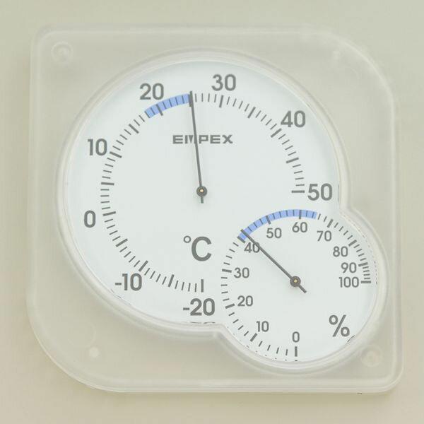 【メール便送料無料】ELPA 温湿度計 シュクレミディ クリアホワイト OS-01 (W)