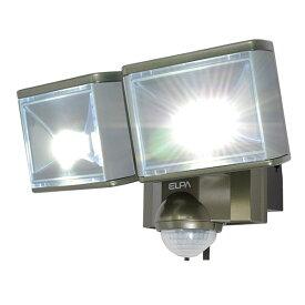 【アウトレット】LEDセンサーライト ELPA ESL-802AC コンセント式 屋外用 防犯ライト 防沫 LED6W 2灯 860ルーメン