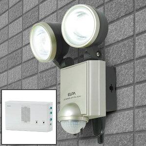 エルパ LEDセンサーライト+無線チャイムセット ESL-402ACST コンセント式 屋外用 防犯ライト 防沫 LED6W 2灯 450ルーメン /ELPA 朝日電器 アウトレット
