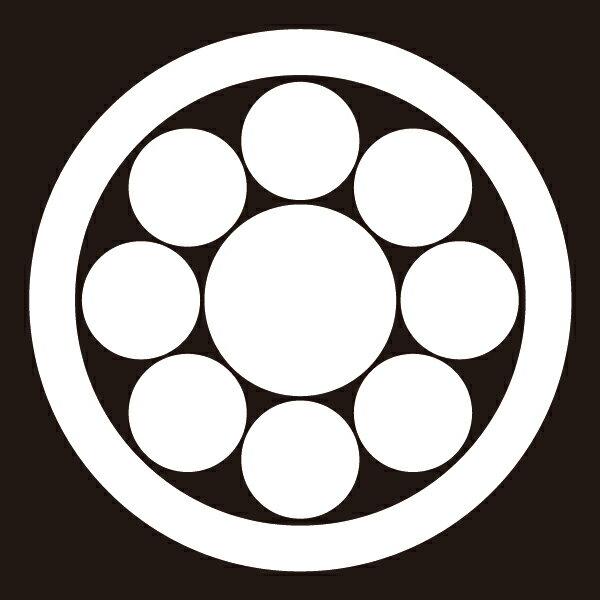 貼り紋 丸に九曜(シールタイプ6枚1組) =着物、羽織、家紋、紋付=