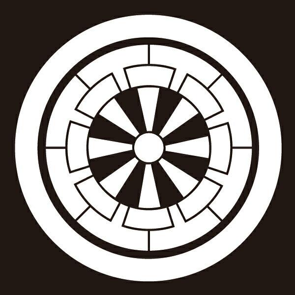 貼り紋 丸に源氏車(シールタイプ6枚1組) =着物、羽織、家紋、紋付=