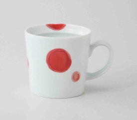丸紋 マグカップ(赤) 波佐見焼 和食器 陶器 はさみやき マグカップ 急須 コーヒーカップ 湯呑