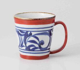 走り唐草 たっぷりマグ(赤)波佐見焼 和食器 陶器 はさみやき マグカップ 急須 コーヒーカップ 湯呑