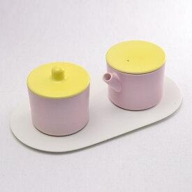 S&B Milk Can & Sugar Can & Platter Set Light Yellow/Light pink ( 1616 / arita japan あす楽 敬老の日 プレゼント ミルクポット クリーマー シュガーポット 陶器 おしゃれ 有田焼 結婚 出産 内祝い 引き出物 金婚式 誕生日プレゼント 還暦祝い 古希 喜寿 )