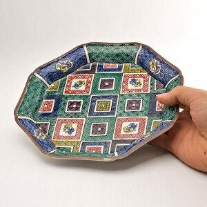 【九谷焼】八角皿石畳の図5.5号ペア