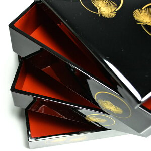 【山中漆器】重箱3段光輪松6.5寸/3〜4人用