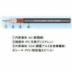 関西通信電線 同軸ケーブル 監視カメラ(映像配信用) 3C-2V(C)×100m巻き 黒 3C-2V(C)クロ×100m