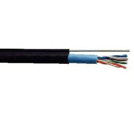 関西通信電線 屋外用支持線付LANケーブル Cat5e 100m巻 黒 UTP-C5E-W-SSD(0.5×4P)クロ×100m