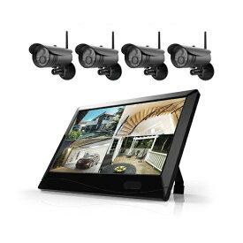 マザーツール 【カメラ4台セット】高解像度ワイヤレスセキュリティカメラシステム 防水型 200万画素 10.1型LCDタッチスクリーン MT-WCM300カメラ4台セット