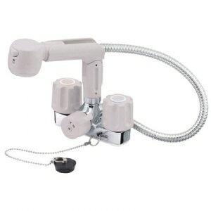 三栄水栓製作所 ツーバルブスプレー混合栓 洗髪用 節水水栓 ホース露出タイプ ゴム栓・一時止水機能付 ホース長さ:0.5m U-MIX K3104VR-LH
