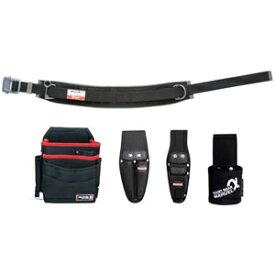 マーベル 腰道具セット 柱上安全帯用ベルト+腰回り4点セット スライドバックル(アルミ) 湾曲タイプ 《ソフトフィット・Shuttoシリーズ》 MAT-100WBSETD