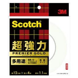 スリーエムジャパン 《スコッチ》 超強力両面テープ プレミアゴールド 多用途タイプ 12mm×4m 白 SPG-12