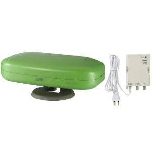 サン電子 地上デジタル放送用アンテナ ブースタ内蔵タイプ 水平・垂直偏波タイプ 強電界地域用 屋内外兼用 《anpetシリーズ》 アップルグリーン SDA-5-2-AG