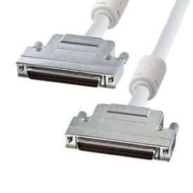 サンワサプライ ワイドSCSIケーブル ストレート全結線 ピンタイプハーフ68pinオスインチネジ(2-56)-ピンタイプハーフ68pinオスインチネジ(2-56) フェライトコア付 1m KB-WS1K