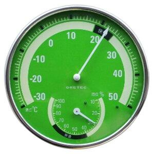 ドリテック 温湿度計 アナログ式 快適温度・湿度範囲目盛付 グリーン 電池不要 O-310GN