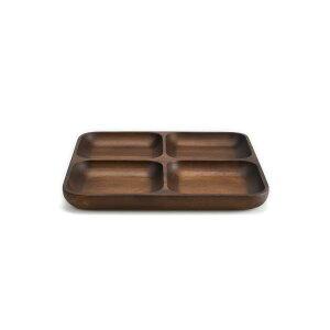 木製食器おしゃれワンプレート仕切り付きプレートトレイアカシア材ミディアムブラウンモダン木製食器仕切り4つ角型MOOTOUACACIASQUAREPLATE4ISSEIKI一生紀