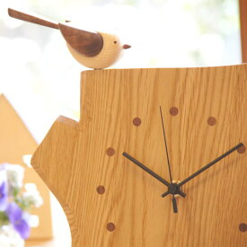エナガの時計(小) (木製 とけい ウッドクロック 新築祝い 置き時計 ギフト インテリア 日本製 国産) 児童館