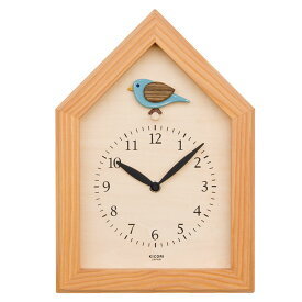 KICORI 青い鳥の時計 k207 (木製 とけい ウッドクロック 新築祝い 壁掛け時計 置き時計 ギフト インテリア 日本製 国産) 児童館