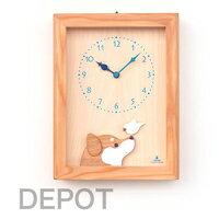 木の時計 KICORI K 480 柴犬と白文鳥の時計【送料無料】 18000円+税 手作り 国産  時計