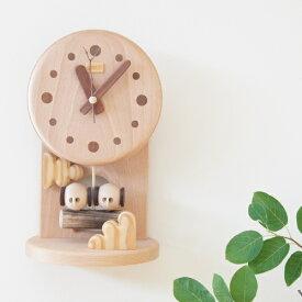 デポー限定 手作り 木の時計 小部屋 ふくろう (木製 とけい ウッドクロック 新築祝い 壁掛け時計 置き時計 ギフト インテリア 日本製 国産) 児童館
