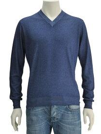 クルチアーニ ネイビーブルー系 31559br1 メランジカシミア&シルクの贅沢上品ハイゲージ長袖ニット Vネックセーター 18SS