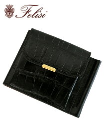フェリージ  felisi 2つ折り財布 メンズ ウォレット 915/2/SA マネークリップ ブラック クロコダイル 型押しレザー 国内正規品 でらでら 公式ブランド