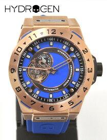 HYDROGEN WATCH ハイドロゲン メンズ ウォッチ VENTO ヴェント HW424404 ピンクゴールド ブルーベルト オートマティック スケルトン オープンワーク シリコンバンド 自動巻 カッコいい 大きい スポーツ時計