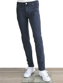 ヤコブコーエン メンズ ツイルコットンパンツ 5ポケット ブルーブラック ハラコパッチ ローライズ スリムテーパード ボタンフライ