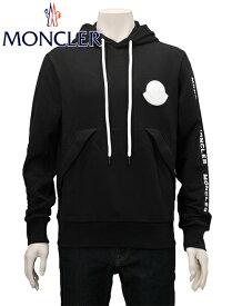 MONCLER モンクレール メンズ スウェットパーカー プルオーバー 0918046450V8048999 白ラバーワッペン&白フードコード ブラック MAGLIA
