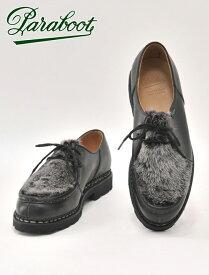 PARABOOT パラブーツ 国内正規品 メンズ ミカエル MICHAEL LIS オイルドレザー ミンクファーコンビ ブラック チャッカ チロリアン 履きやすい 短丈ブーツ