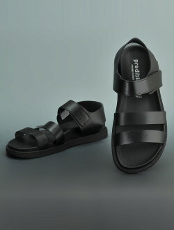 The プレディビーノ Predibino black leather magic tape foot bed men sandals who keep it, and are stable in their Velcro three points strap design