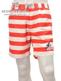 スコッチ&ソーダ  SCOTCH & SODA 国内正規品 メンズ スイムショーツ ハーフパンツ オレンジレッド&アイボリー Aカラーボーダー プリントのメッシュライナー Keoniコレクション ナイロン でらでら 公式ブランド