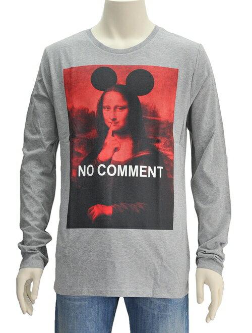 ノーコメント パリ  NO COMMENT PARIS 「モナリザ レッド」杢グレー VIOコットン 長袖クルーネックTシャツ カットソー メンズ レディース 正規取扱