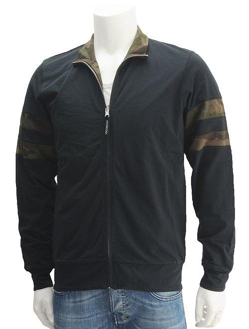 ハイドロゲン  HYDROGEN ブラック&迷彩柄 リバーシブルで2デザインを愉しむ ジップアップ トラックジャケット メンズ