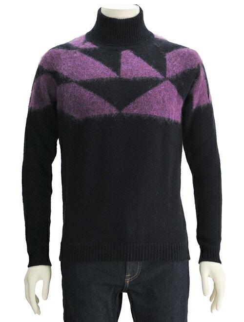 ロベルトコリーナ  roberto collina メンズセーター モヘア混紡ウール 長袖タートルネックニット パープル模様