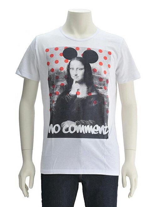 ノーコメント パリ  NO COMMENT PARIS メンズ 半袖Tシャツ ホワイト モナリザ&ドット ミッキー耳 レディース兼用 カットソー 国内正規品