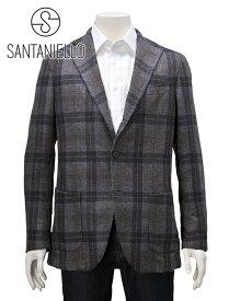 サンタニエッロ  SANTANIELLO 国内正規品 メンズ 段返り 3つボタン テーラードジャケット GL7280MF コットン ウール チェック グレー厚手
