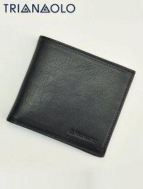 トリアンゴロ  TRIANGOLO ブラック 紙幣スペース2室ジャパンマネータイプ 二つ折り財布 イタリア製レザーウォレット 国内正規品 メンズ レディース