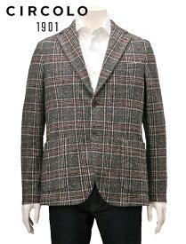 【今ならPoint6倍!】チルコロ  CIRCOLO 1901 国内正規品 メンズ グレンチェック スウェットジャージ シングルジャケット 2つボタン ベージュ ブラウン 秋冬 でらでら 公式