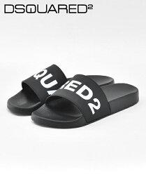 【クリアランスSALE30%off】ディースクエアード  DSQUARED2 国内正規品 メンズ シャワーサンダル D2 Slides ブラック&ホワイトロゴ ポリウレタン素材 ビーチ でらでら 公式ブランド