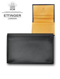 エッティンガー  ETTINGER 143JR-BLACK ブラック 名刺入れ&カードケース ブライドルレザー 内側は幸福のイエローカラー メンズレザーアイテム 英国ブランド