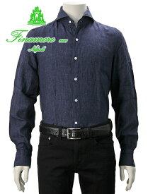 【今ならPoint5倍】フィナモレ  Finamore メンズ 18番色 リネンシャツ SERGIO セルジオ 暗めのインディゴ ネイビー 麻 ホリゾンタルカラー カッタウェイ