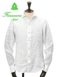 フィナモレFinamore/SERGIOセルジオ/ホワイト/横のウネリ線をリネン地に加えた柔らかな白色麻クロスホリゾンタルカラーシャツカッタウェイメンズ長袖)n