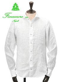 フィナモレ  Finamore メンズ リネンシャツ SERGIO セルジオ ホワイト 定番 麻 ホリゾンタルカラー イタリア カッタウェイ