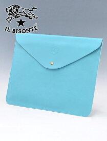 イルビゾンテ  IL BISONTE メンズ レザークラッチバッグ 封筒 薄型 スリム ターコイズブルー シンプル でらでら 公式ブランド