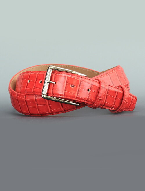 プレディビーノ  predibino レッド 赤色 pre1206004-1605man-red同型 クロコダイル くるくるバックル ロングセラーモデル 2016年の新作タイプ 型押し定番レザーベルト 35mm幅 イタリア製