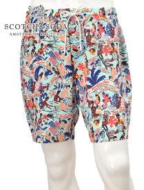 スコッチ&ソーダ  SCOTCH & SODA 国内正規品 メンズショーツ KEONI プリント レーヨン 前開きなし ブルー ハワイアンプリント ハーフパンツ でらでら 公式ブランド
