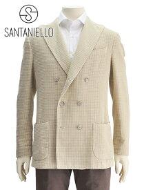 【今ならポイント10倍!要エントリー】サンタニエッロ  イタリア製 SANTANIELLO 国内正規品 メンズ ダブルブレストジャケット オフホワイト gl782mf-ds2558 麻ミックス ワッフルコットン 本切羽 でらでら 公式